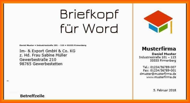 Briefkopf Vorlage Word