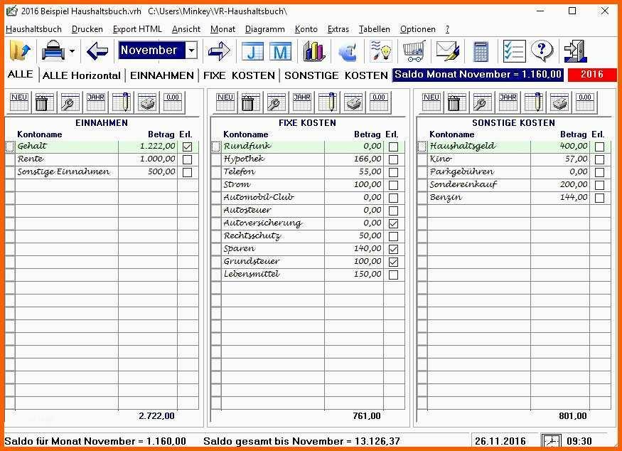 Haushaltsbuch Einfach